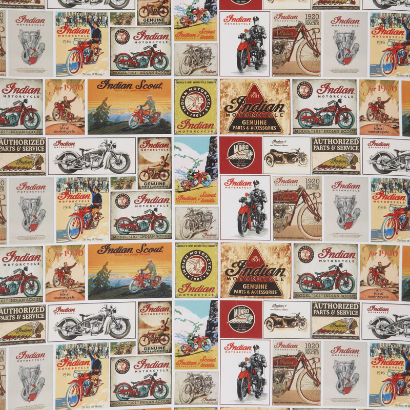 Indian Motorcycle - Vintage Signs White Yardage