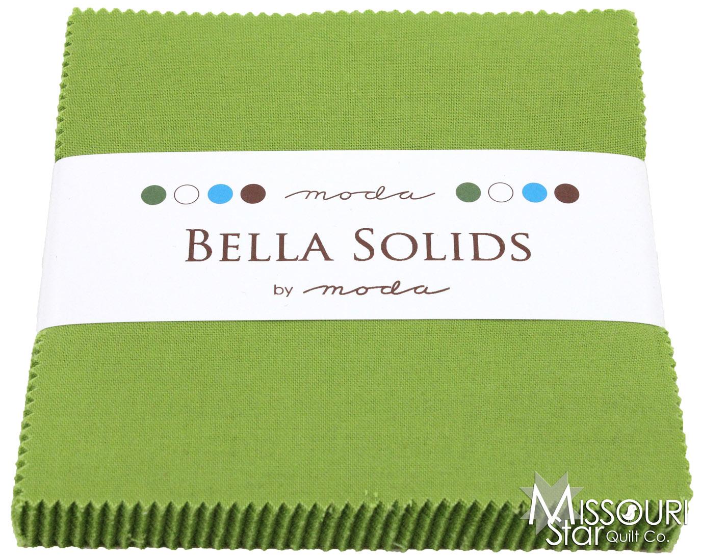 Bella Solids Leaf Green Charm Pack