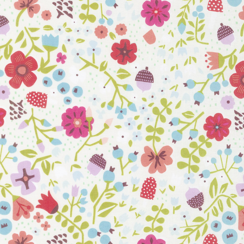Little Red in the Woods - Floral Cream Yardage