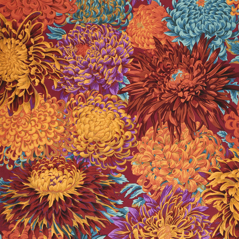 Kaffe Fassett Collective Fall 2018 - Night Chrysanthemum Autumn Yardage
