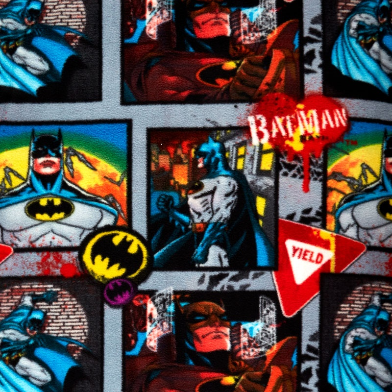 Fleece Licensed - Batman Yield Sign And Graffiti Multi Yardage