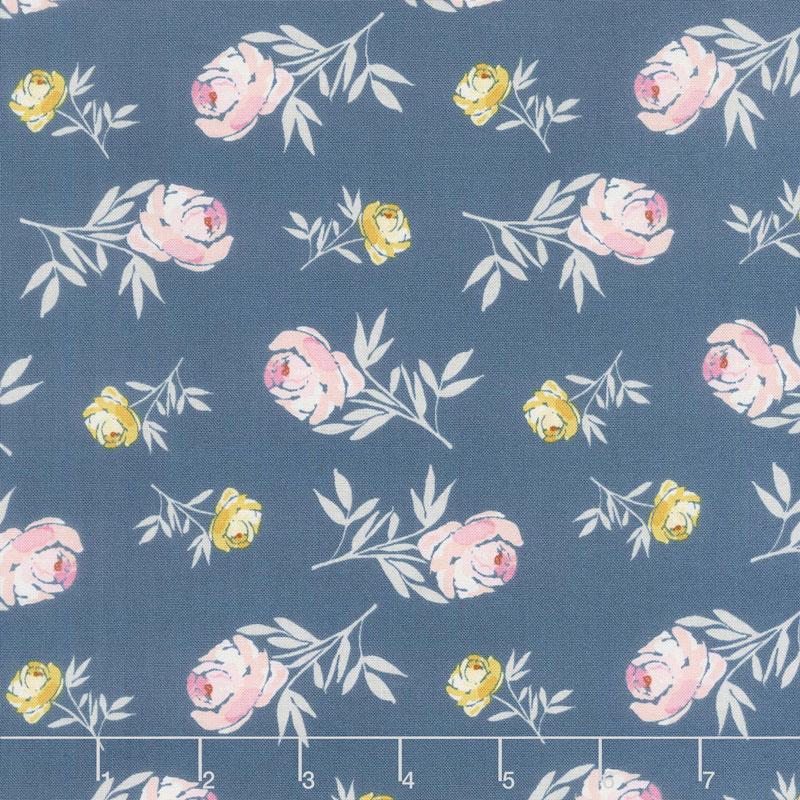 Blooms and Bobbins - Rose Blue Yardage