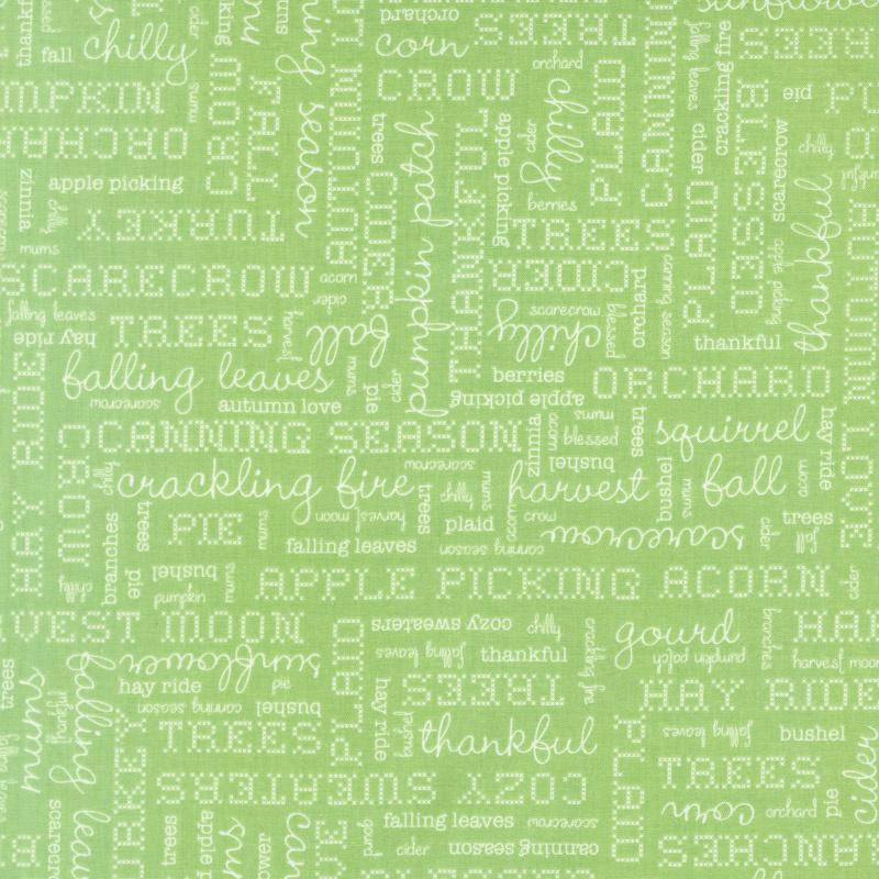 Autumn Love - Text Green Yardage