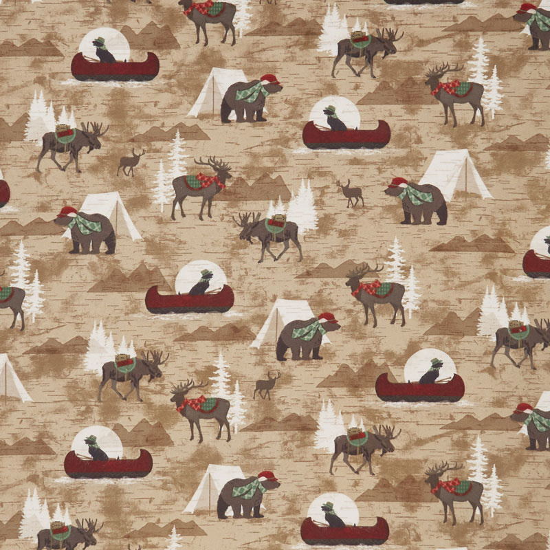 Woodland Haven - Canoes, Tents and Animals Allover Brown Flannel Yardage