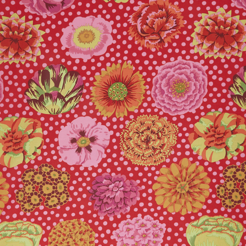 Kaffe Classics - Big Blooms Red Yardage