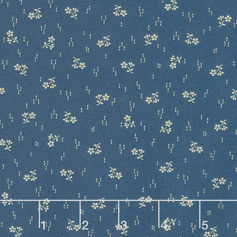 Mood in Blue - Sprig of Flowers Blue Yardage