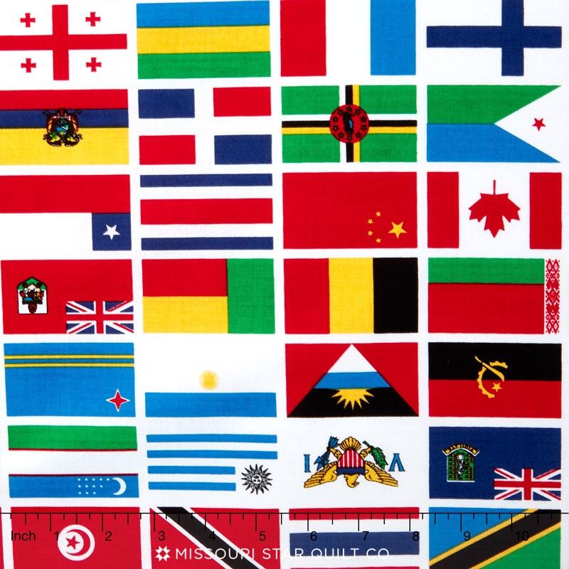 Our World - World Flag White Yardage