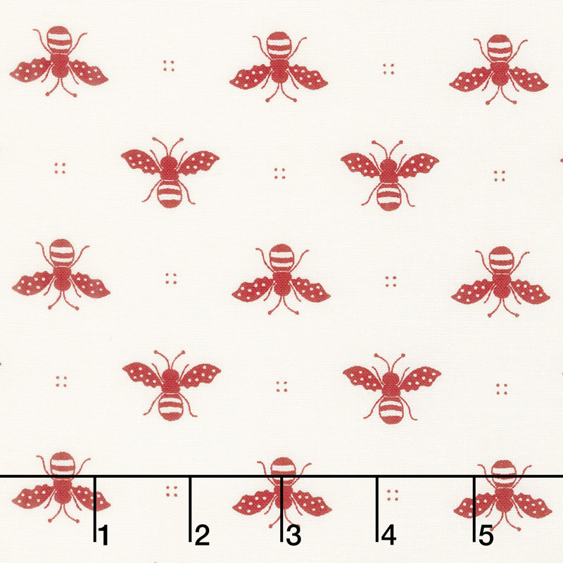 My Redwork Garden - Honey Bee Cream Red Yardage