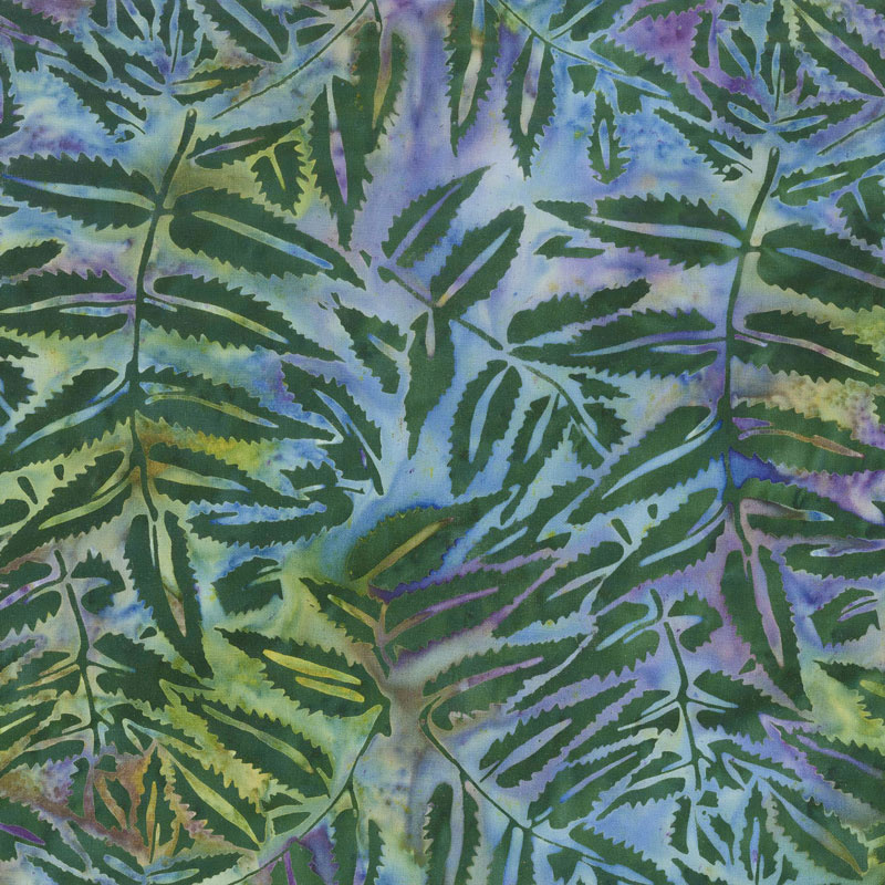Enchanted Forest Batiks - Fern Leaves Marbles Yardage