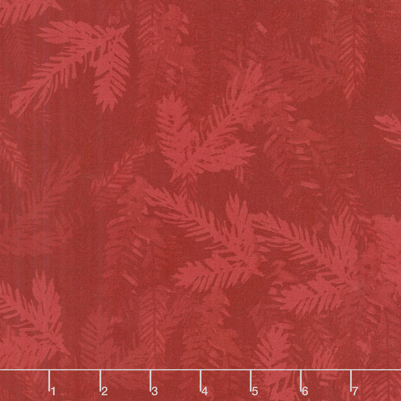 Merry & Bright - Tonal Pine Branch Red Yardage