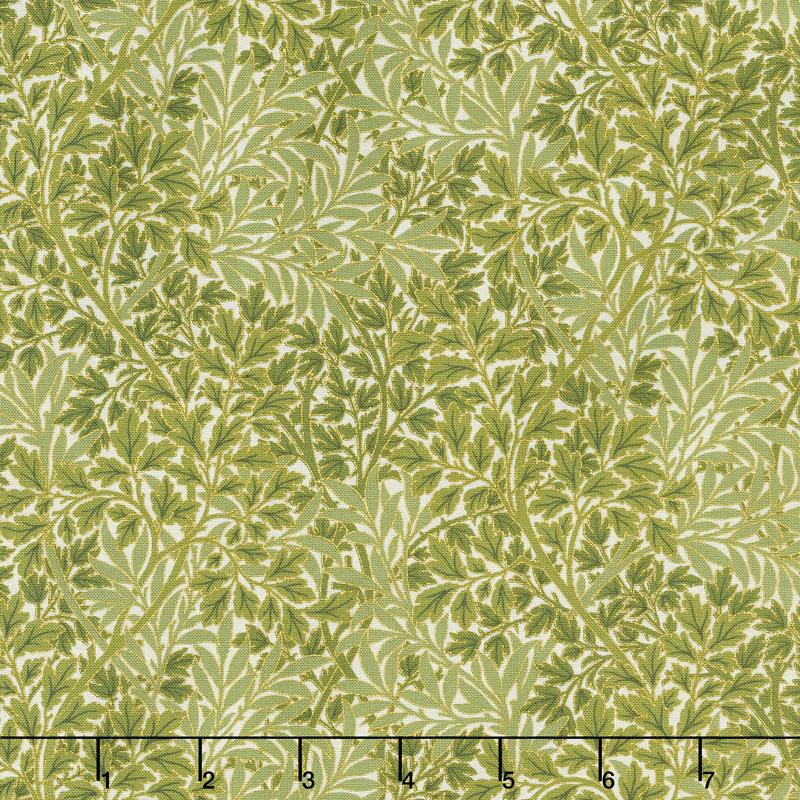 Morris Holiday 1899 - Foliage Linen Pine Metallic Yardage