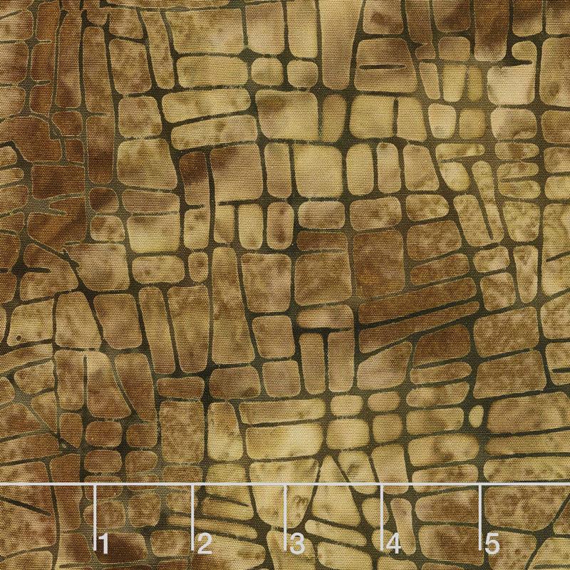 Geared Up Batiks - Mosaic Lines Acorn Yardage