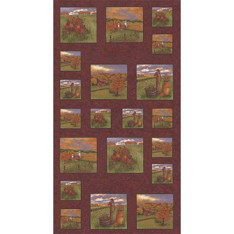 Country Charm - Country Rustic Red Panel