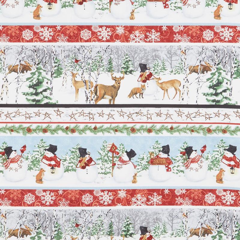 Snow Days - Novelty Stripe Snowmen and Animals Blue Red Yardage