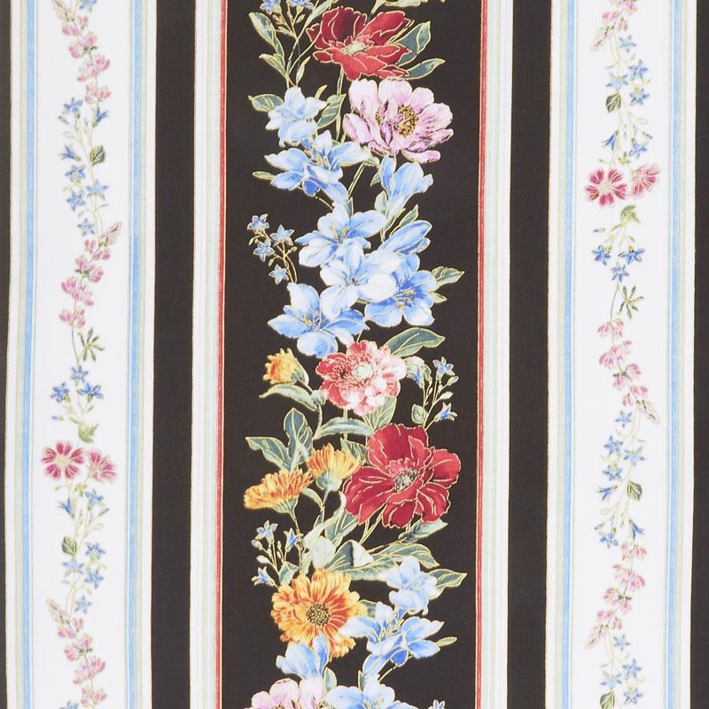 Field of Dreams - Wild Flower Stripe Black Yardage