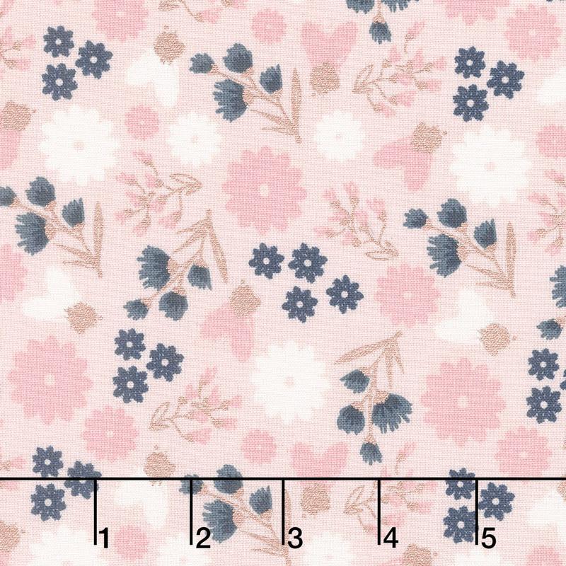 Blush - Floral Pink Sparkle Yardage