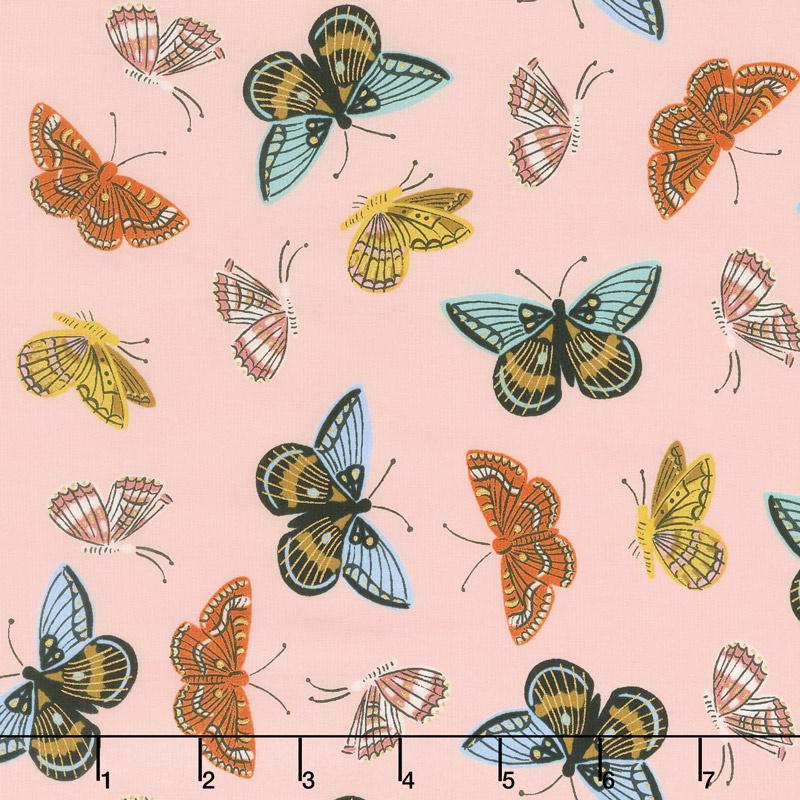 English Garden - Monarch Peach Cotton Lawn Metallic Yardage