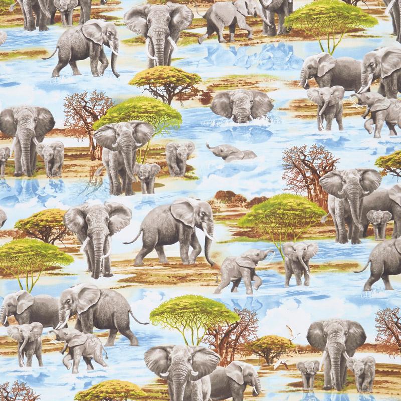 Animals - Elephants at the Watering Hole Water Yardage