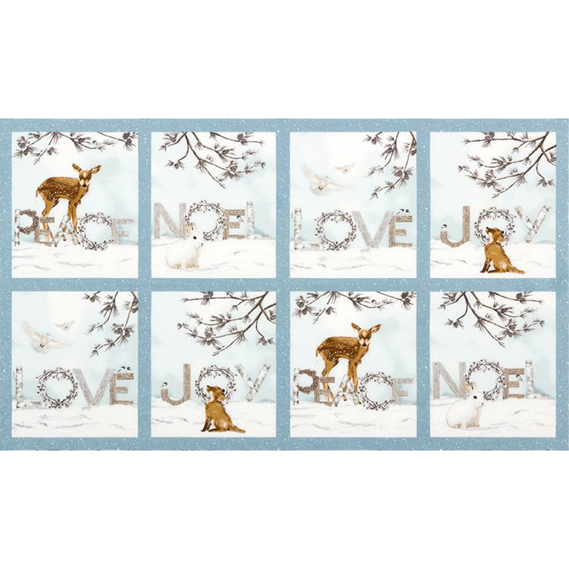 Winter White 3 - Winter Words Animals Winter Metallic Panel