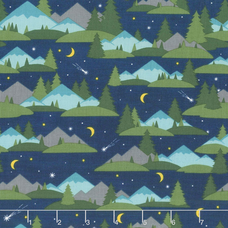 Gone Glamping! - Mountains and Trees Blue Yardage