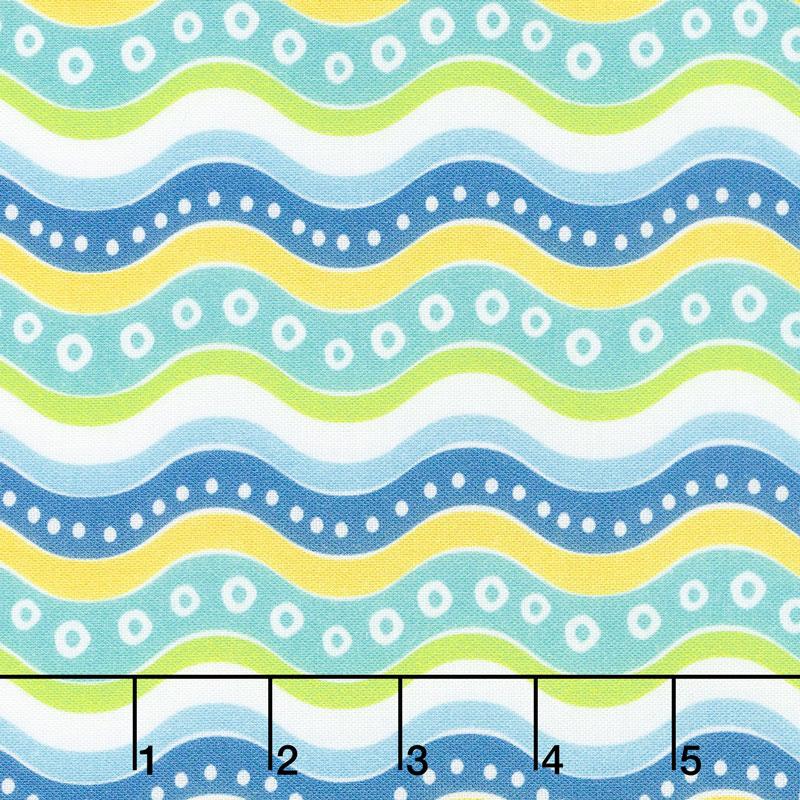 Go Fish - Multi Color Wave White Multi Yardage