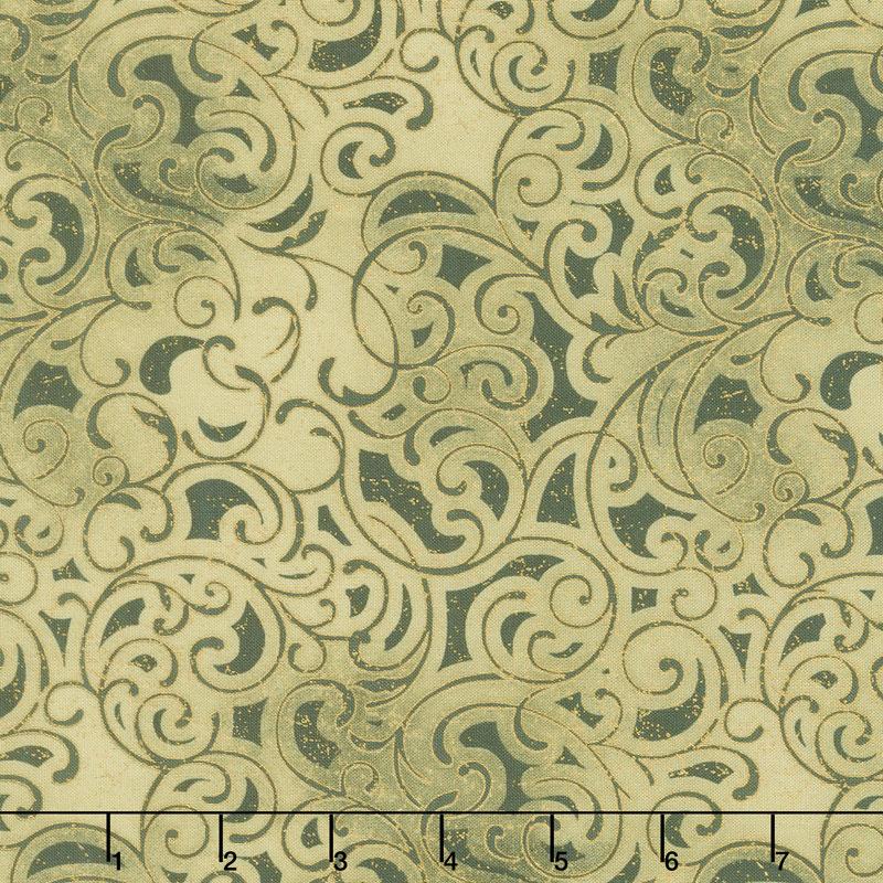 Grand Illusion - Scroll Green Metallic Yardage