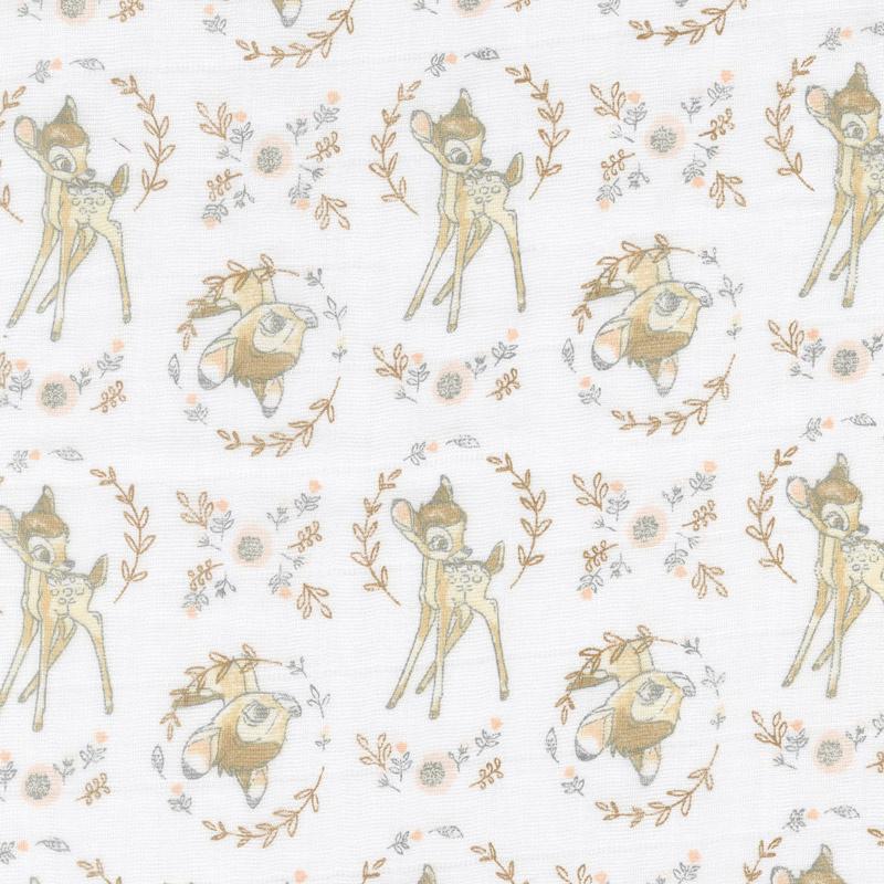 Cotton Muslin Double Gauze - Sweet Bambi White Yardage