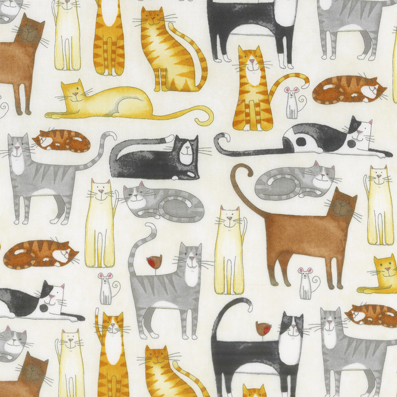 You had Me at Meow - Cats Allover Cream Multi Yardage