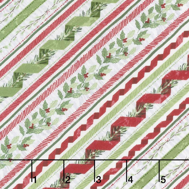 Woodland Friends - Ticking Stripe Red Yardage
