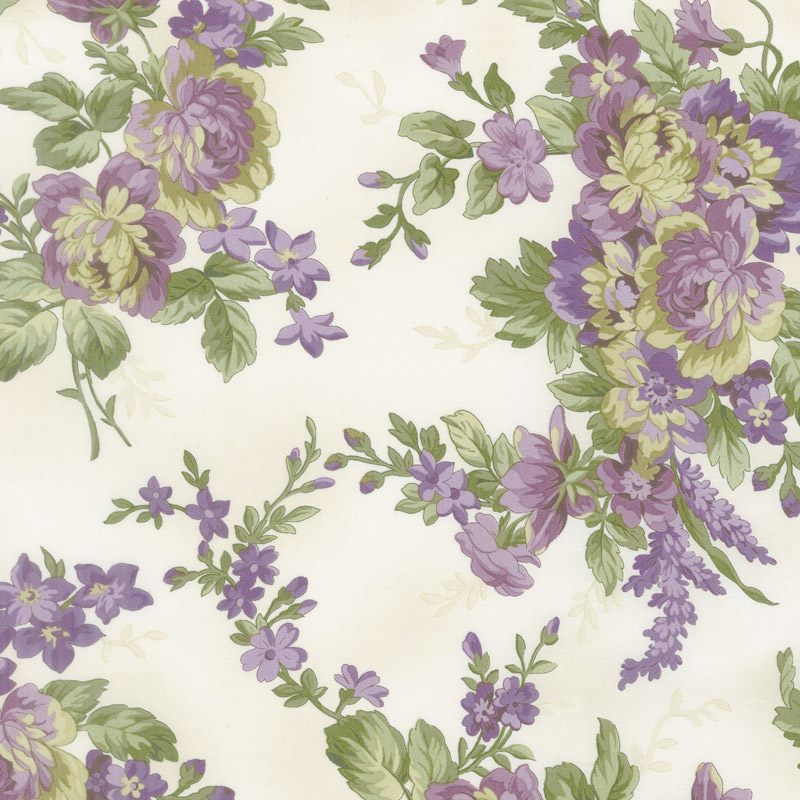 Aubergine - Elegant Floral Ivory Yardage