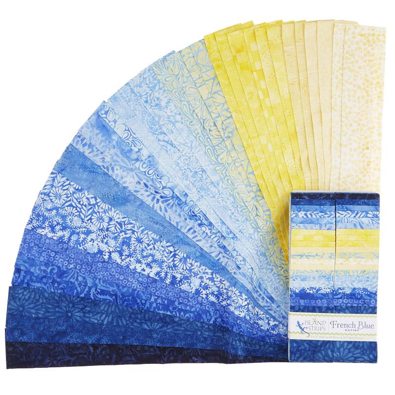 French Blue Batiks Strips