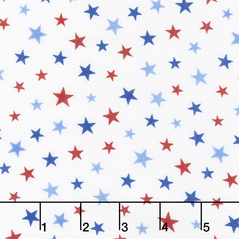 All Star Hockey - Multi Color Stars White Multi Yardage