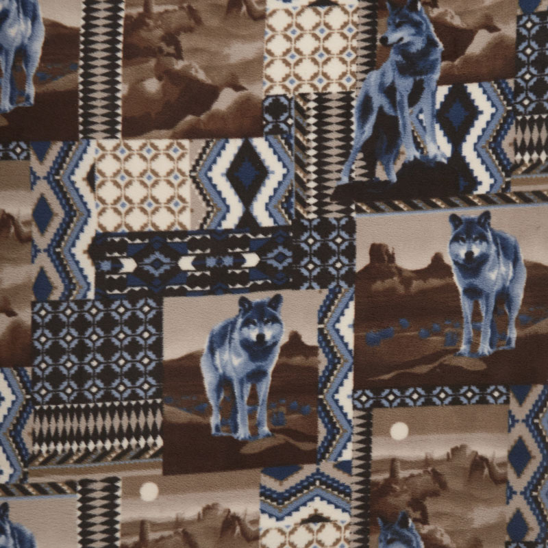 Winterfleece Prints Animals - Wolves Brown Yardage