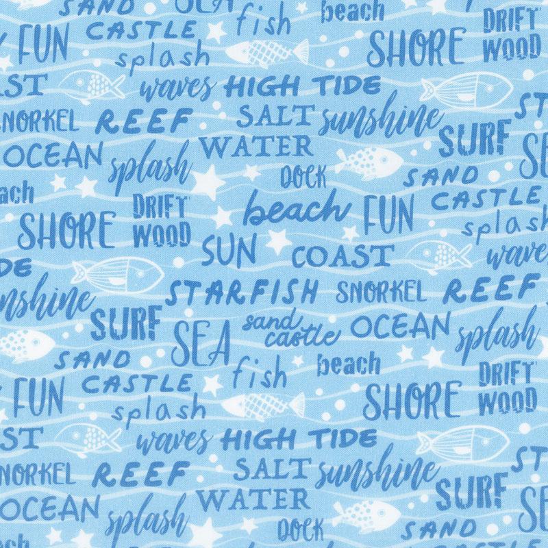 Go Fish - Seaside Script Blue Yardage
