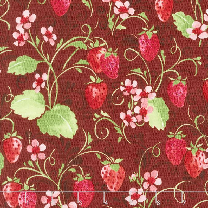 Sugar Berry - Strawberry Pie Radiant Crimson with Red Glitter Yardage