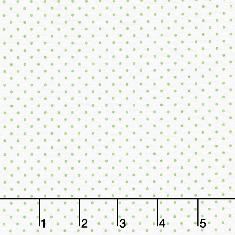 Swiss Dot - Swiss Dot Green on White Yardage