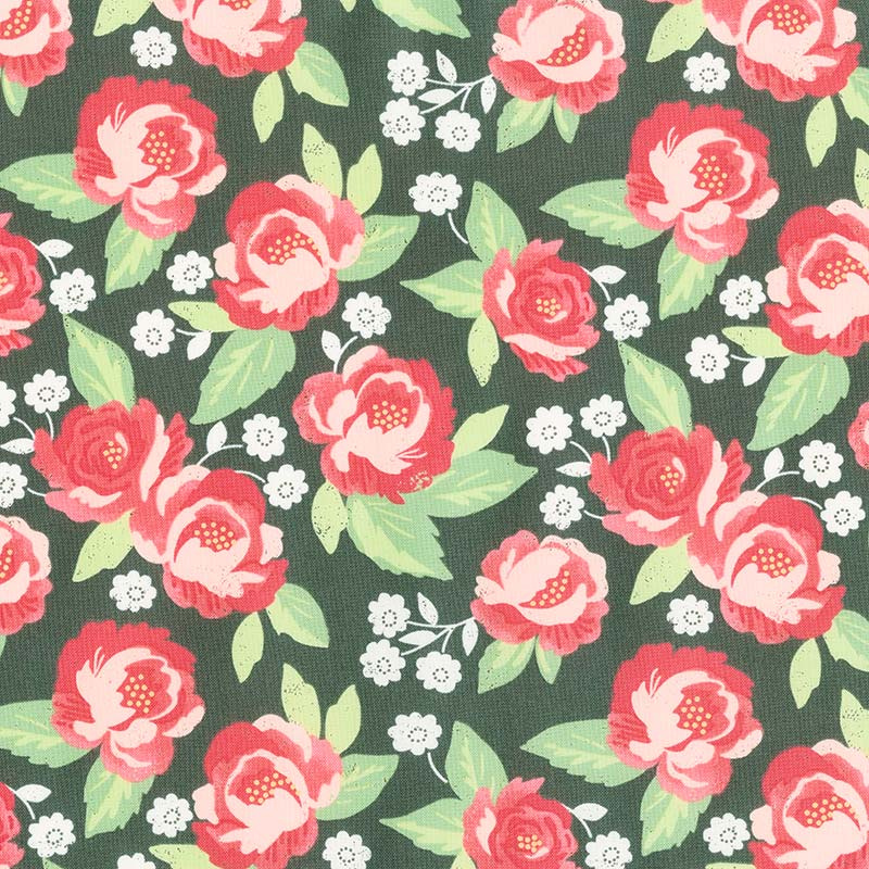 Bloomington - Faded Blooms Charcoal Yardage