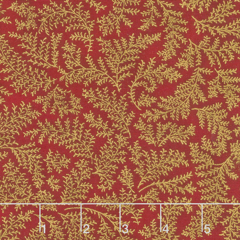 Holiday Flourish 12 - Twig Red Metallic Yardage