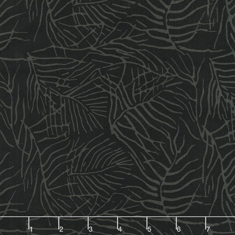 Black Beauty Batiks - Fern Black and Gray Yardage