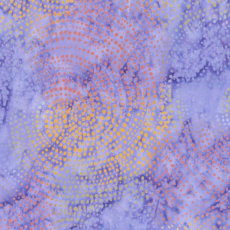 Tonga Batiks - Colorwheel Plume Dotty Spiral Iris Yardage