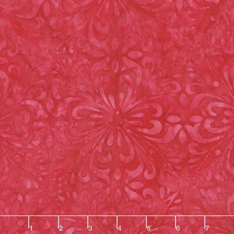 Cherry Sweet Batiks - Fancy Tiles Red Yardage