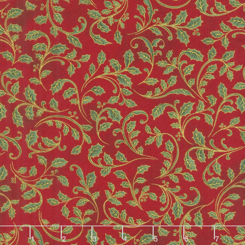 Winter's Grandeur 7 - Holiday Leaves Red Metallic Yardage