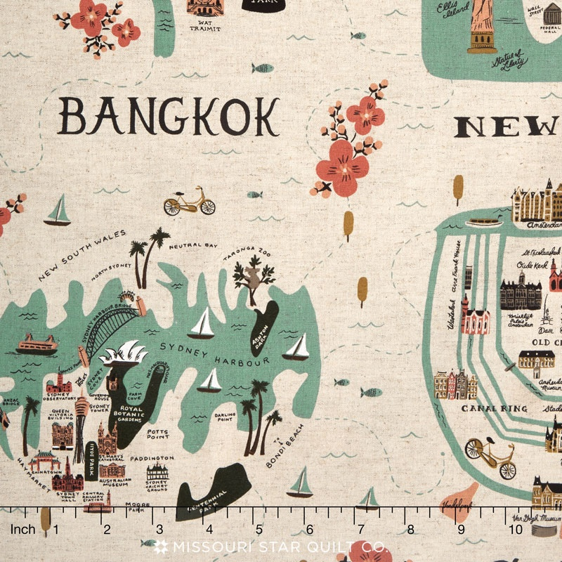 Les Fleurs - City Maps Natural Canvas Yardage