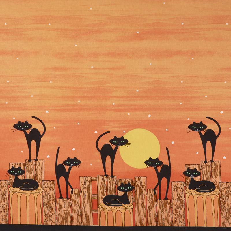 Bats and Black Cats - Stray Cat Strut Orange Yardage