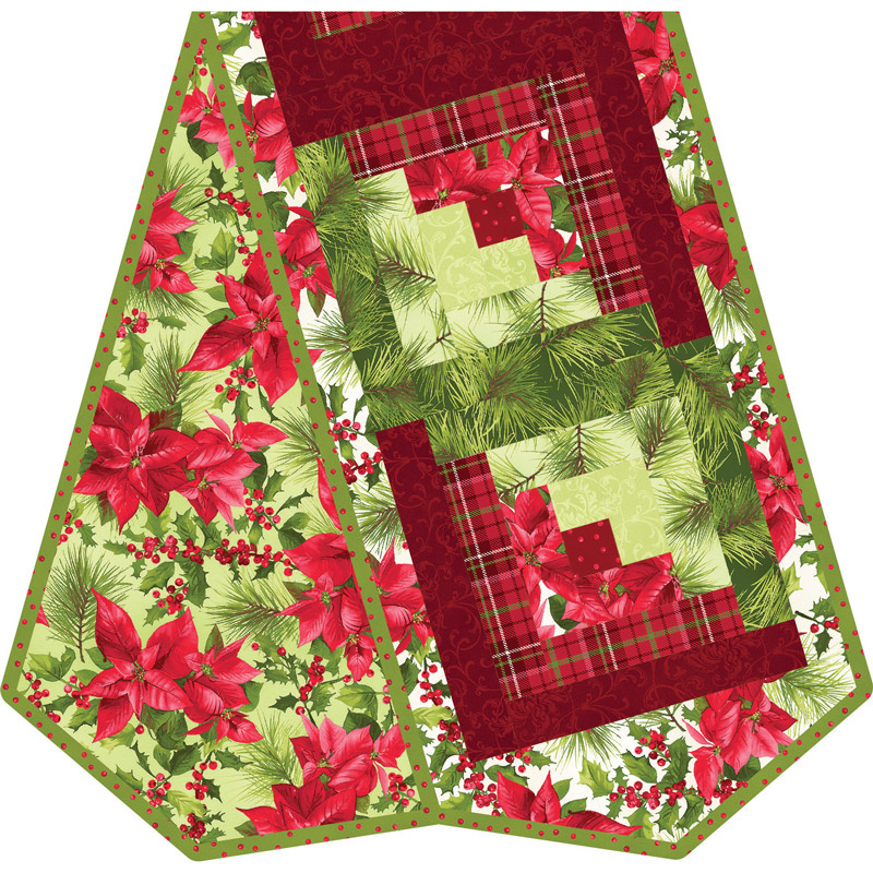 Poinsettia & Pine Log Cabin Table Runner POD™ Kit