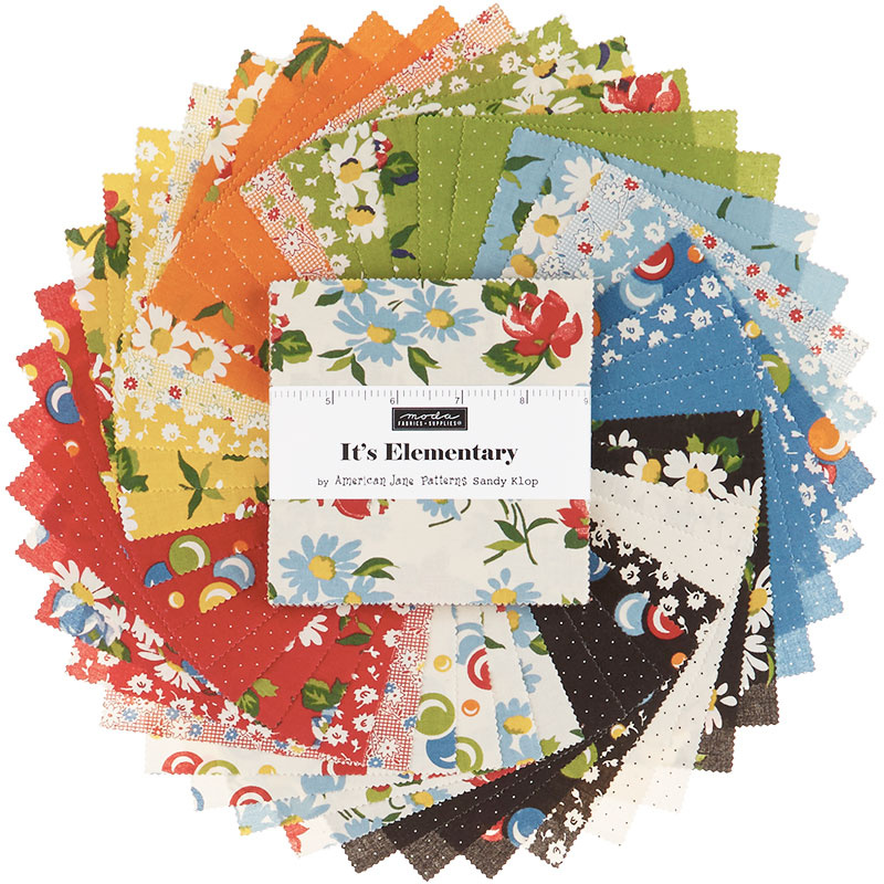 Its Elementary Charm Pack by American Jane; 42-5 Inch Precut Fabric Quilt Squares