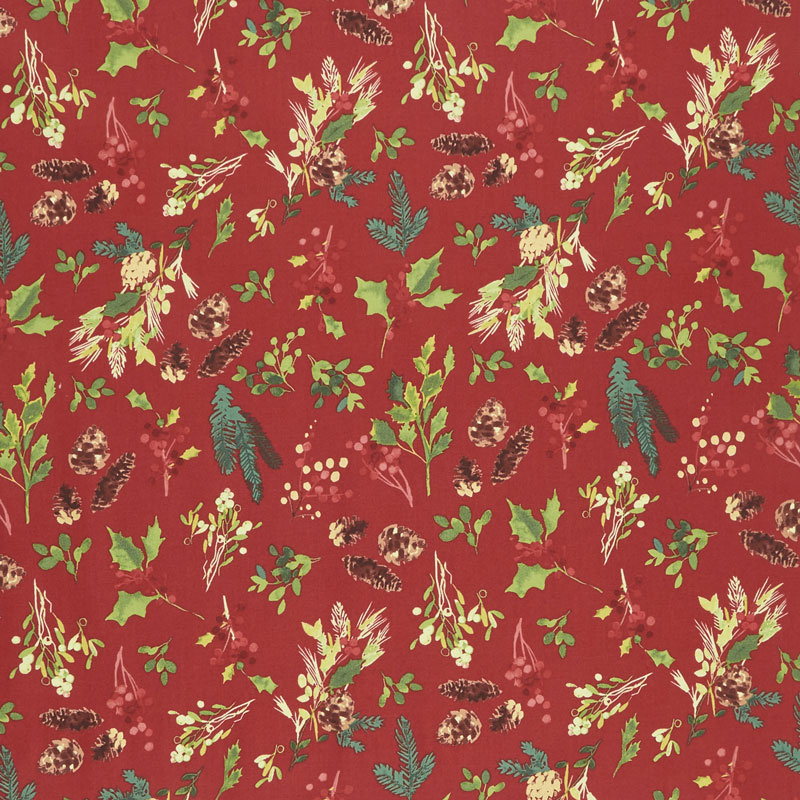 Merry & Bright - Pinecone Toss Red Metallic Yardage