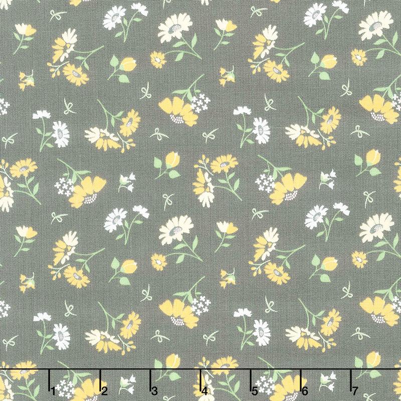 Spring Brook - Daisies Slate Yardage