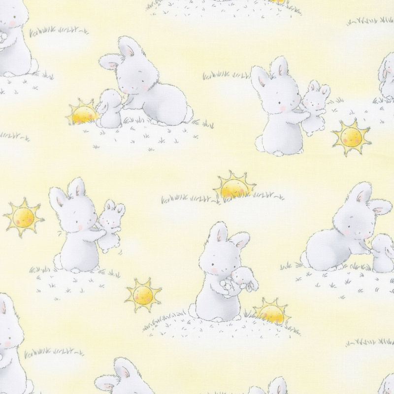 Little Star - Bunnies and Little Ones with Sunshine Yellow Yardage