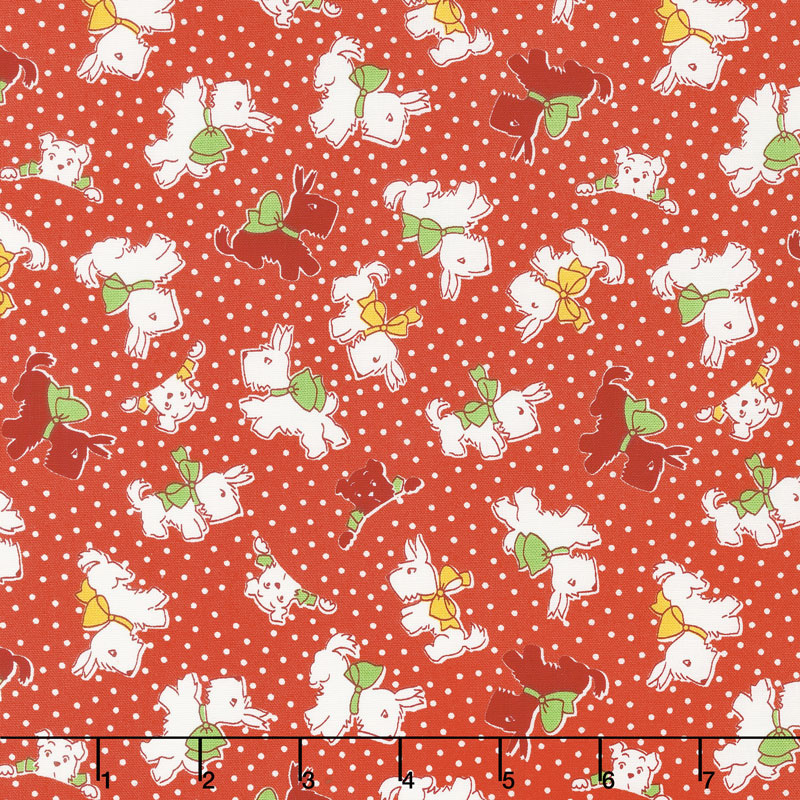 Storybook Sleepytime - Sleepy Dogs Red Yardage